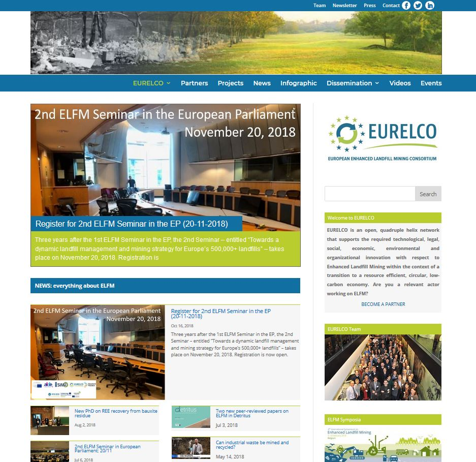 Overview EURELCO website