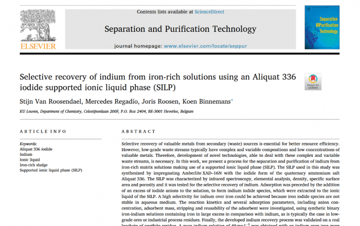 Cover page indium recovery paper