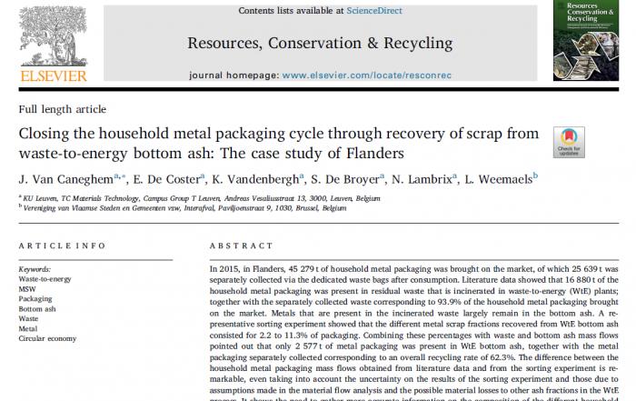 Cover paper Jo Van Caneghem on household metal packaging