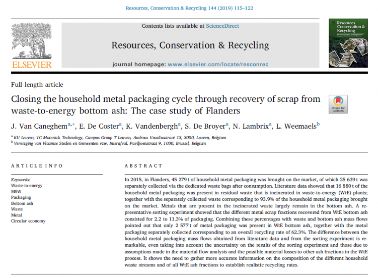 Cover paper Jo Van Caneghem on household metal packaging