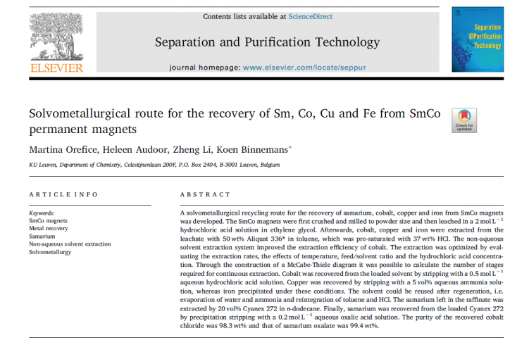 Cover paper on solvometallurgical recovery of metals from SmCo magnets